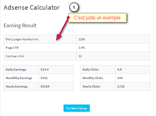 Free tool to calculate your earnings on Adsense