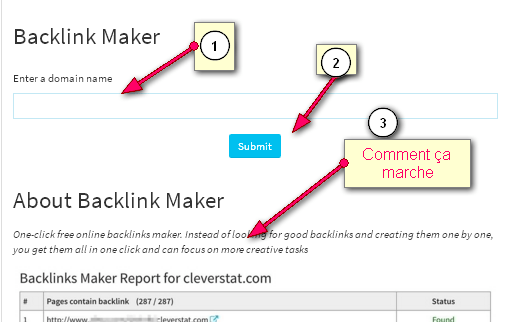 Free tool to create Backlinks to your website